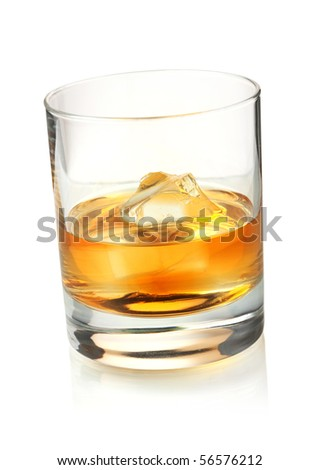 Glass of whiskey with ice. Isolated on white background - stock photo