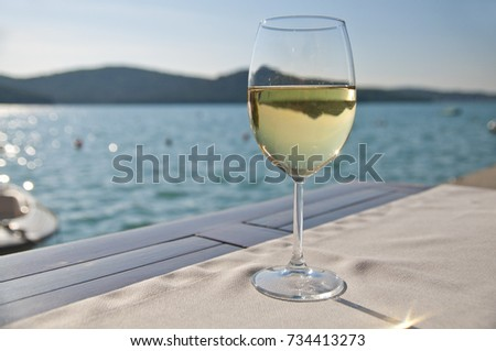 Glass of white wine at the bar with beautiful marina in the background.