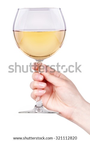 Glass of white wine isolated on a white background