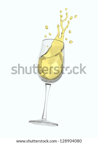 Glass of white wine with splashes
