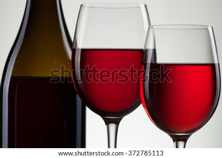 Glass of wine and bottle on white with copy space