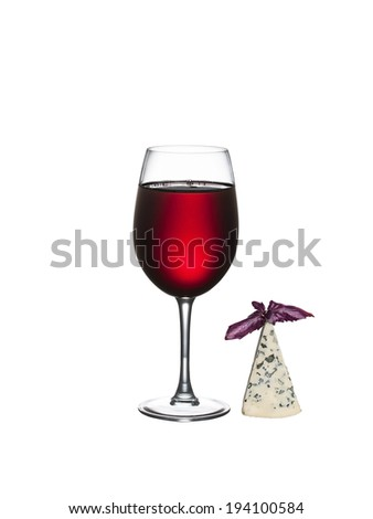 Glass of wine and cheese isolated on a white background - stock photo