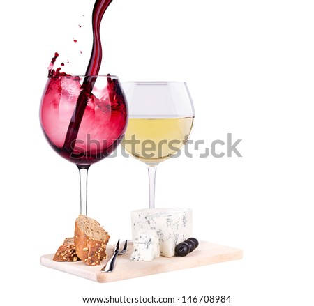 glass of wine, assortment of  cheese and grapes isolated on white - stock photo
