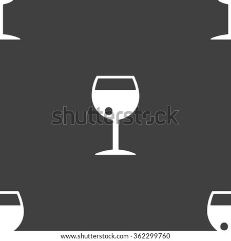 glass of wine icon sign. Seamless pattern on a gray background. illustration - stock photo