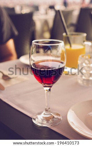 Glass of wine in restaurant