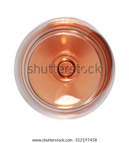 Glass of wine isolated on white top view - stock photo