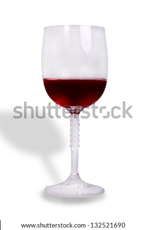 glass of wine on white - stock photo