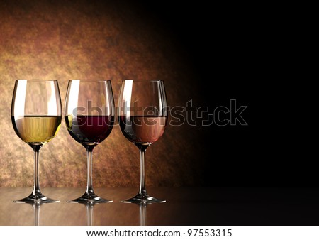 glass of wine: red, white and ros - stock photo