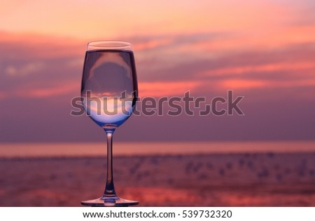 Glass of wine with the evening sun