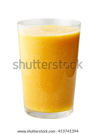 glass of yellow smoothie isolated on white background