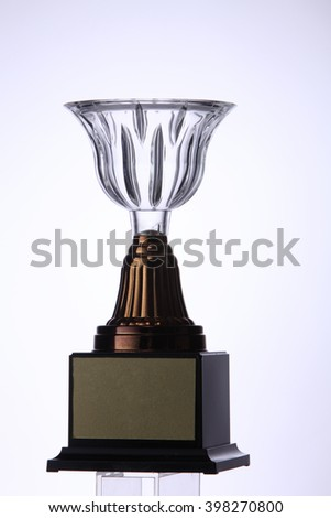 glass or crystal trophy on the white background - stock photo