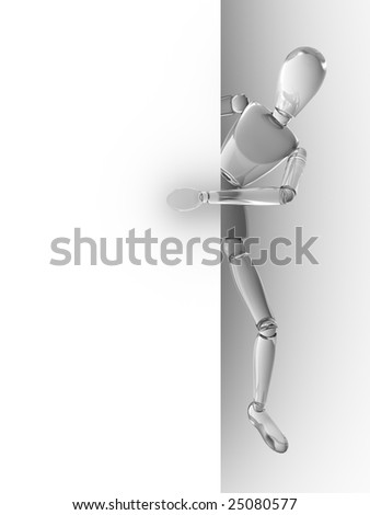 Glass people behind white wall - stock photo