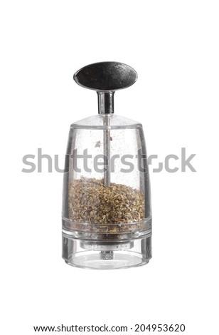 glass pepper blender on white background - stock photo