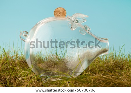 Glass piggy bank and a dollar in grass