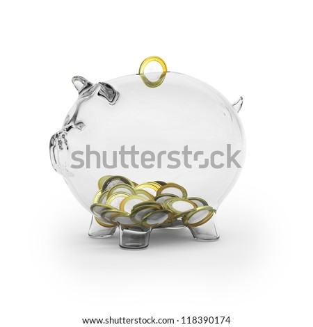 Glass piggy bank with euro coins - stock photo