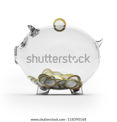 Glass piggy bank with euro coins. Side view - stock photo