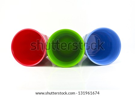 Glass plastic mix colors on a white background
