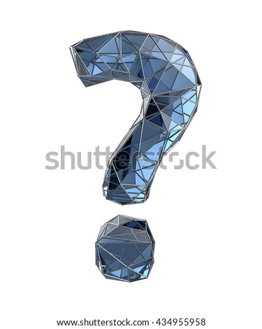 glass question mark, 3d illustration