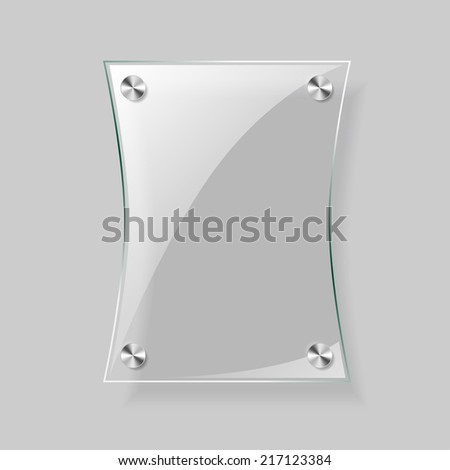 Glass rectangle plane on  gray background - stock photo
