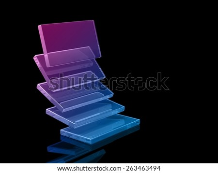 glass rectangles on black background, digitally generated image