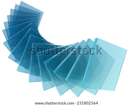 glass rectangles on white background. digitally generated image