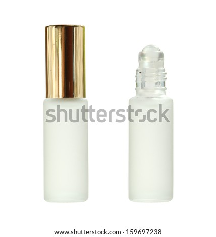 Glass roll on bottle isolated on white background - stock photo