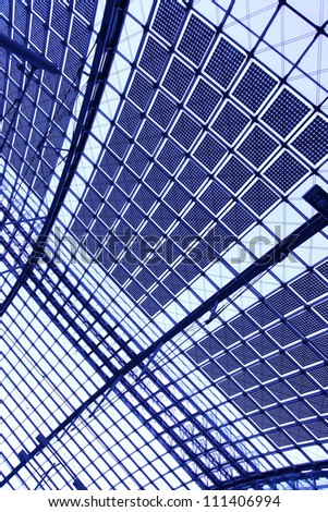 Glass roof - abstract industrial background - stock photo