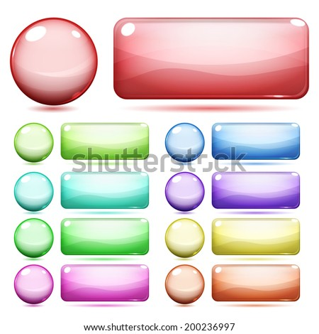 Glass round and rectangle buttons various colors on white background