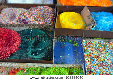 Glass sand for glass making production in Murano island in the Venetian Lagoon near Venice, Italy. - stock photo