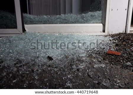 Sliding glass door criminal shattered enter stock photo 443921077 glass scattered from the sliding door broken by a home invader planetlyrics Image collections