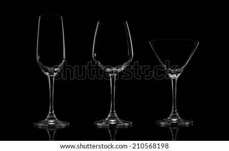 Glass Set champagne,cocktail, wine,brandy,whiskey ,scotch,vodka glasses on black background