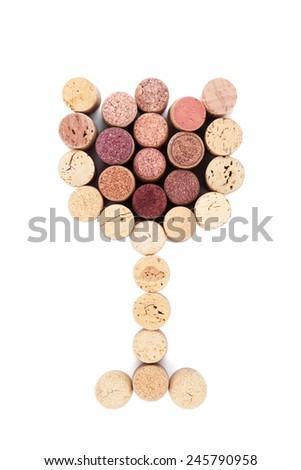 Glass shaped wine corks. Isolated on white background - stock photo