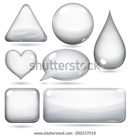 Glass shapes or buttons various forms on white background - stock photo