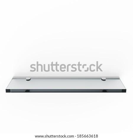 Glass Shelf isolated on white background - stock photo