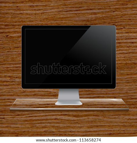 Glass Shelf With Computer, Wood Background - stock photo