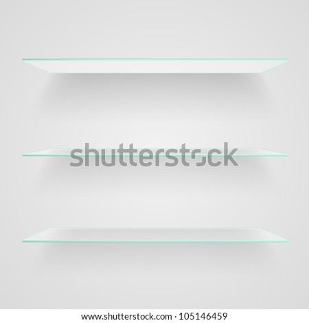 Glass shelves on light grey background. Raster copy of vector illustration