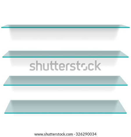 Glass shelves with shadows on white background