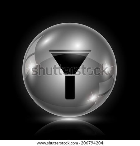 Glass shiny glossy icon on black background. - stock photo