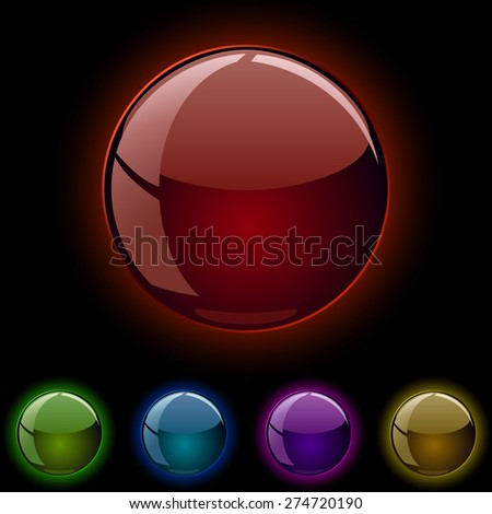 Glass shiny glowing spheres isolated on black background. - stock photo