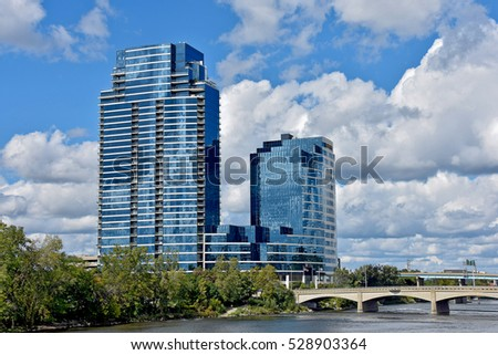 glass skyscrapers in Grand Rapids Michigan on the Grand River