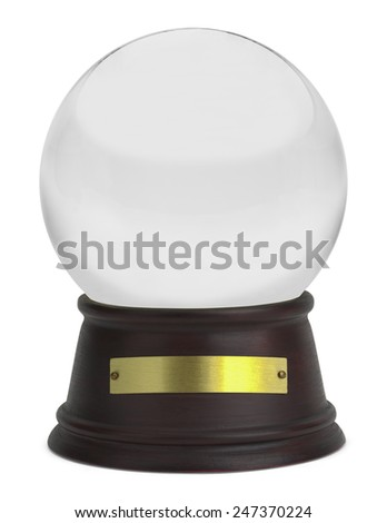 Glass Snow Globe with Wood Base and Plate Isolated on White Background.