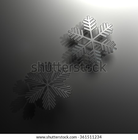 Glass snowflakes with reflection and shadow on black - stock photo