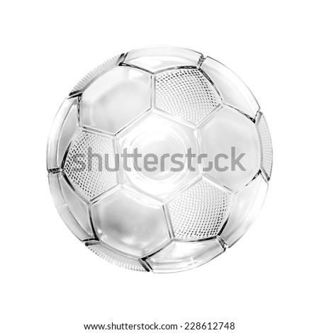 Glass soccer ball isolated on white background - stock photo