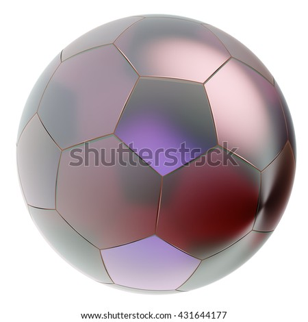 Glass soccer ball. Isolated on white background. Include clipping path. 3d render