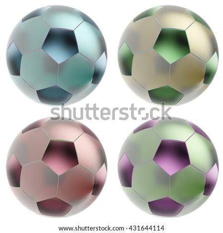 Glass soccer balls. Isolated on white background. 3d render - stock photo