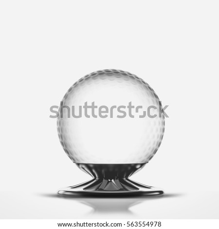 Glass, soccer cup, golf championship isolated. 3D illustration. High quality