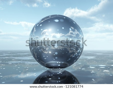 Glass Sphere Computer generated 3D illustration - stock photo