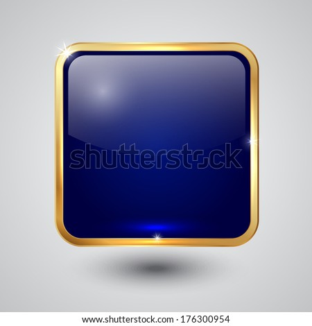 glass square button with round corners and golden frame - stock photo