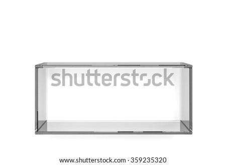 Glass square shelf on white background - stock photo
