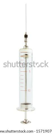 Glass syringe isolated on white - stock photo
